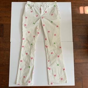 Lily Pulitzer Pants Embroidered Design Size 4